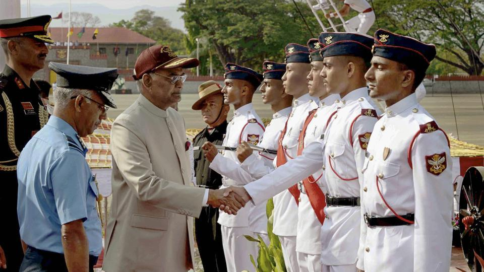 President Ram Nath Kovind meets with the cadets during the 'Passing out Parade' of 134th Course of National Defence Academy (NDA) in Pune. (PRESS TRUST OF INDIA)