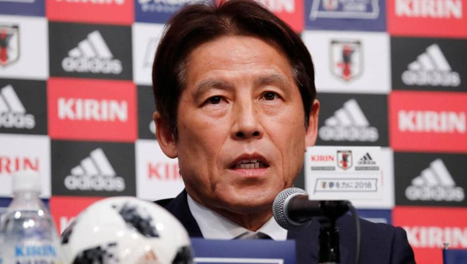 Japan's national football team's head coach Akira Nishino at a news conference on Thursday (May 31) to announce his 23-man squad for the 2018 FIFA World Cup.