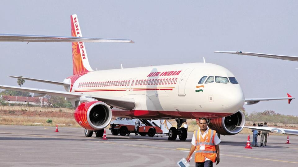 An Air India Airbus SAS 320 aircraft is displayed at the India Aviation 2010 conference in Hyderabad.
