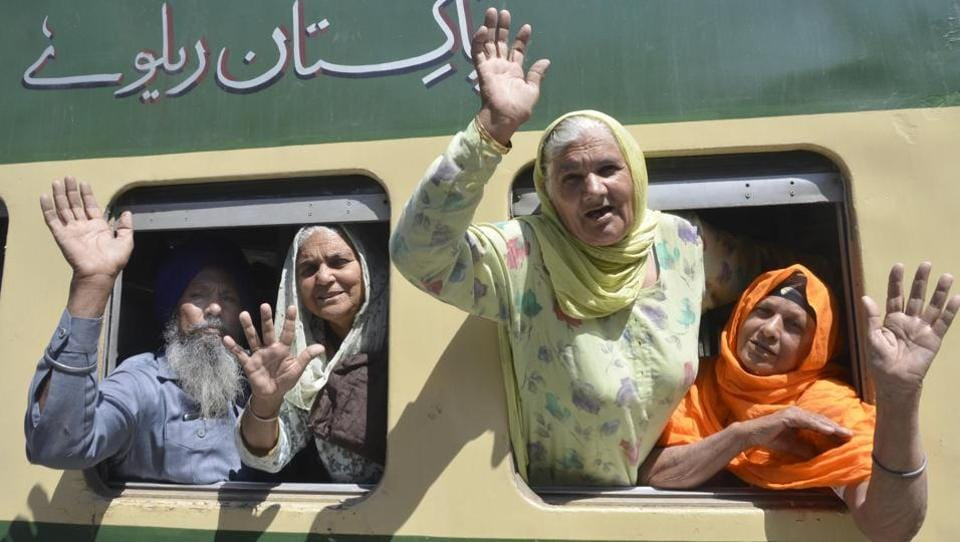 The Sikh pilgrims leaving for Lahore from Attari railway station in Amritsar.