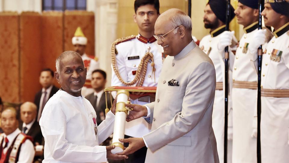 President Ram Nath Kovind presenting the Padma Vibhushan to Ilaiyaraaja, Rashtrapati Bhawan, New Delhi, March 20, 2018