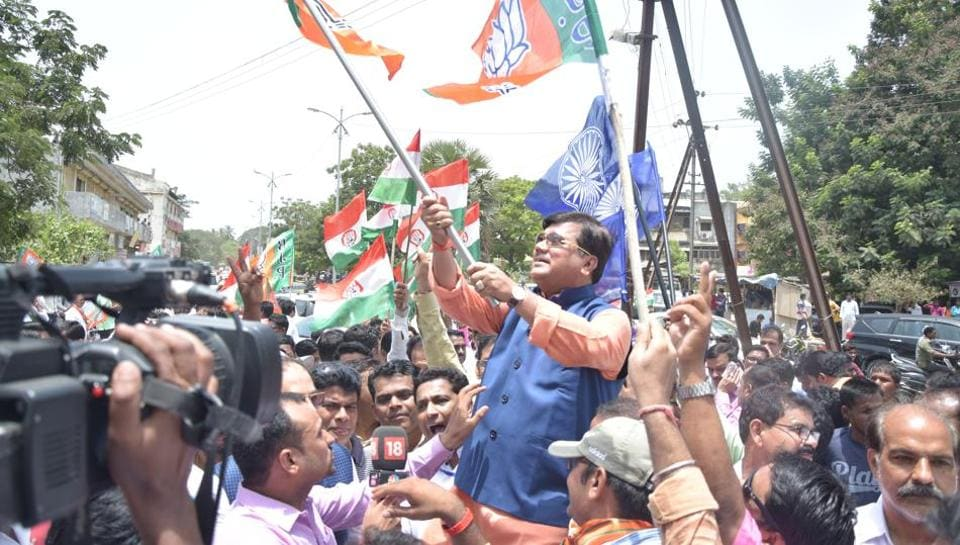 BJP supporters celebrate after winning Palghar Lok Sabha bypoll.