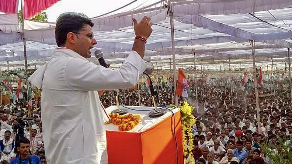 Rajasthan Congress chief Sachin Pilot addresses a crowd during 'Mera Booth, Mera Gaurav' event, in Jhalawar district of Rajasthan, on May 25.