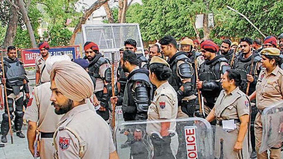 Heavy security deployed outside the court complex during the Kathua rape-murder case trial in Pathankot on Thursday.