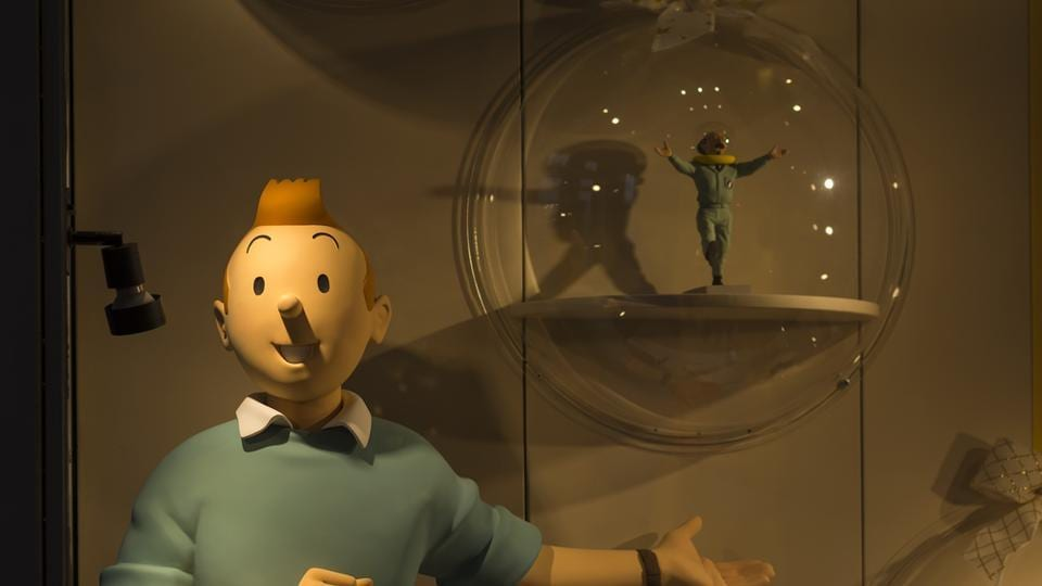 A Tintin model in the Tintin shop in Colline Street, Brussels, Belgium.