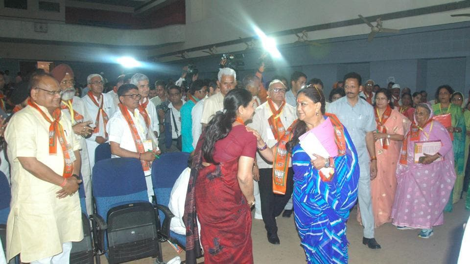 CM Vasundhara Raje greets party members and MLA's at a meeting at party office in Jaipur on Friday.