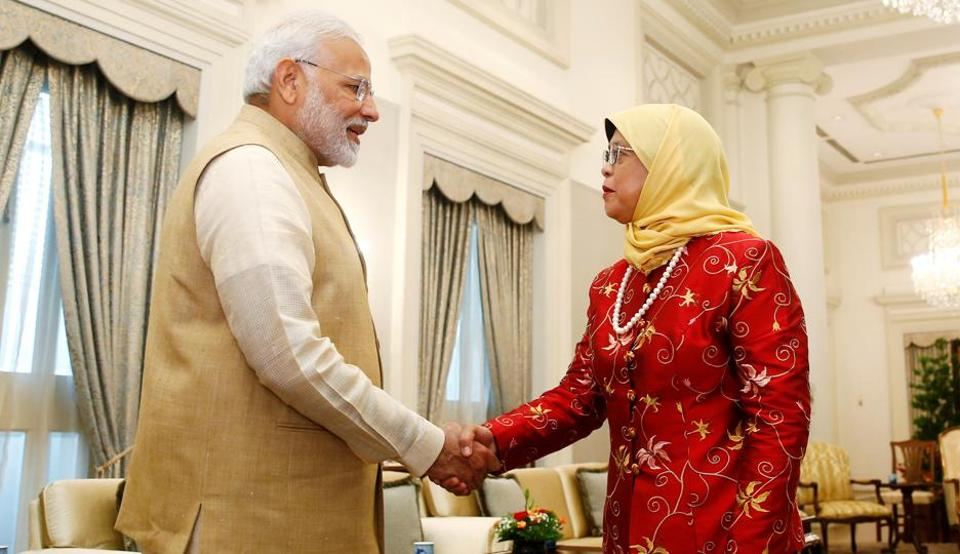 Prime Minister Narendra Modi meets with Singapore's President Halimah Yacob at the Istana in Singapore on  June 1.