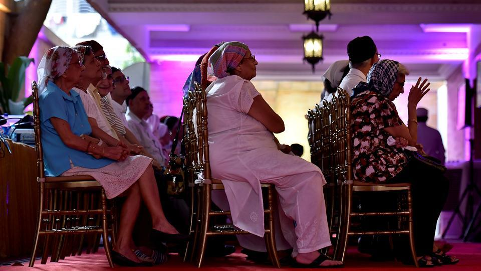 Members of the Parsi community attend the ceremony held on Thursday.  (Aalok Soni/HT PHOto)