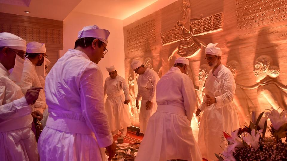 A ceremony was held on Thursday, May 31, to enthrone the Dadgah Saheb, or Holy Fire, in the ground floor of the building. Here, priests perform a religious ceremony. (Aalok Soni/HT PHOto )