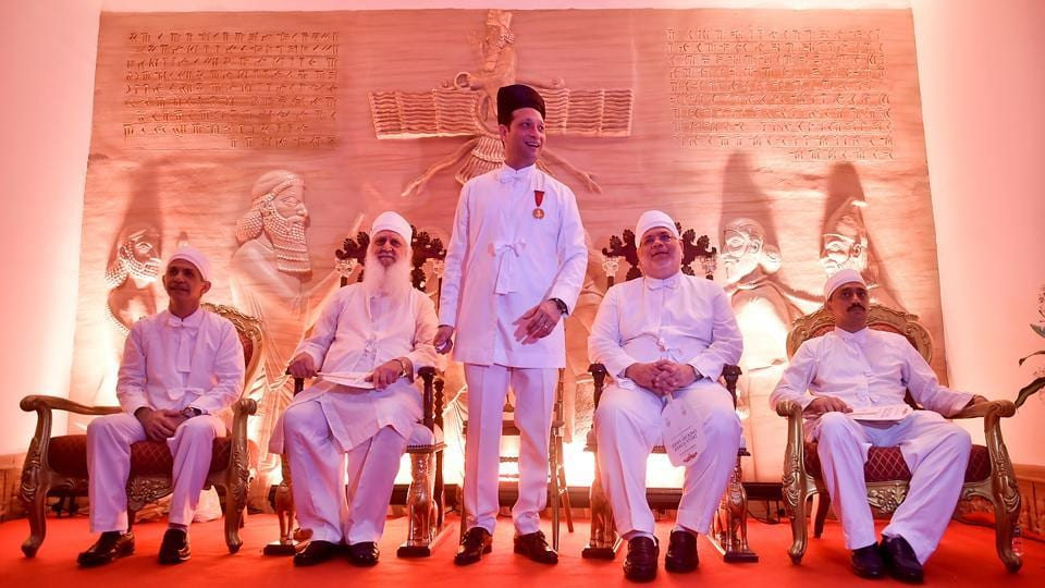 (LtoR) Ervad Dr Ramiyar Karanjia, Vada Dasturji Dr Firoze Kotwal, Jimmy Mistry, Vada Dasturji Khurshed Dastoor and Vada Dasturji Cyrus Noshirwan Dastur at the ceremony held in Dadar (east). The enthronement  ceremony was performed by head priests Kotwal, Dastoor and Dastur.   (Aalok Soni/HT PHOto)