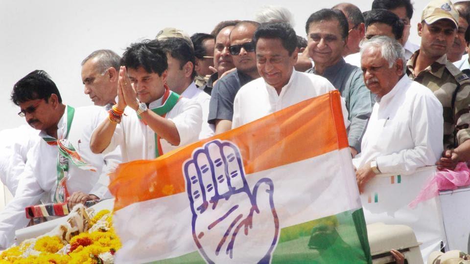 Madhya Pradesh Congress Committee president Kamal Nath and chairman of Madhya Pradesh election campaign committee Jyotiraditya Scindia during a roadshow in Bhopal.