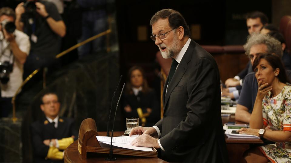 Spain's ousted prime minister Mariano Rajoy speaks on the second day of a motion of no confidence session at the Spanish parliament in Madrid.