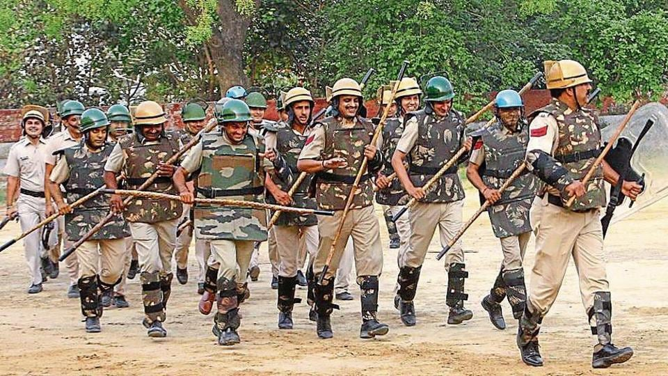Policemen during a security drill on the eve of the Jat Mahasabha rally in Rohtak, on Friday.
