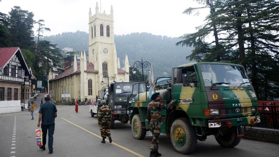 Army tankers used to supply water in Shimla on Saturday.