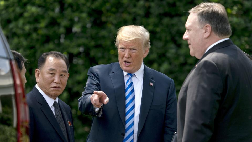 USPresident Donald Trump with Kim Yong Chol, left, former North Korean military intelligence chief and one of leader Kim Jong Un's closest aides, and Secretary of State Mike Pompeo after a meeting in the Oval Office of the White House in Washington on  Friday.