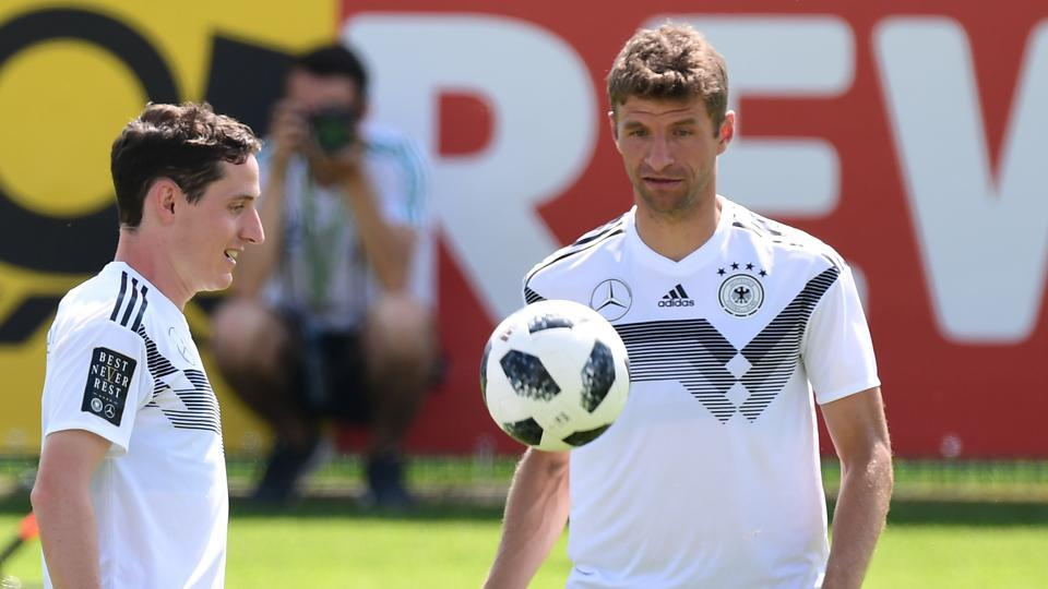 c6a3b9a8b German national football team midfielder Sebastian Rudy and forward Thomas  Mueller (R) take part in a training session at the Rungghof training centre  on ...