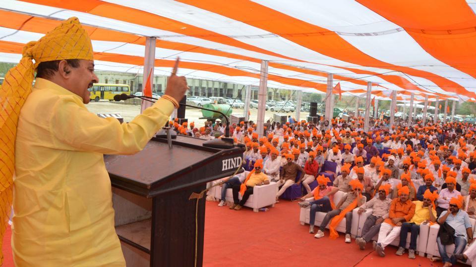 BJP MLA Bhawani Singh Rajawat at the meet, 'Political future of Rajputs', in Kota on Sunday.