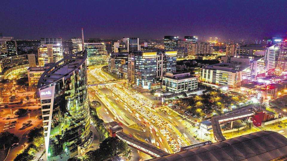 An aerial view of Gurugram using a drone.