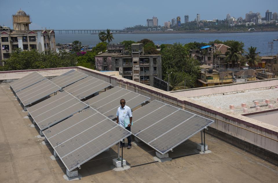 The solar panel grid on the roof of Mahim Church and Canossa High School,  Mahim in Mumbai.