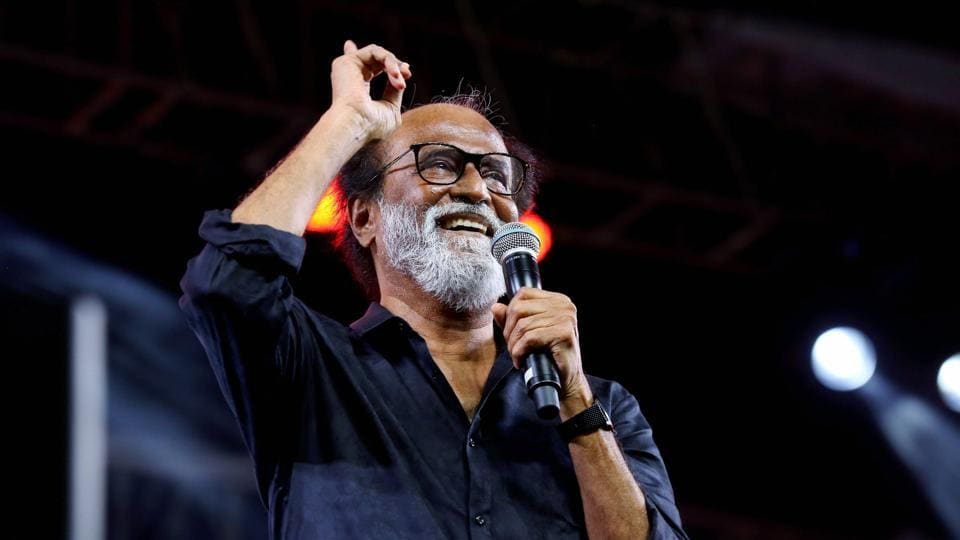 Rajnikanth speaks during the music launch of Kaala at the YMCA grounds in Chennai.