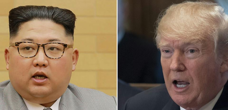 Combination of file pictures shows North Korean leader Kim Jong-Un (left) and US President Donald Trump.