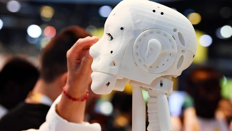 A 3D printed life-size robot is pictured at the InMoov corner during the VivaTech trade fair (Viva Technology) in Paris.