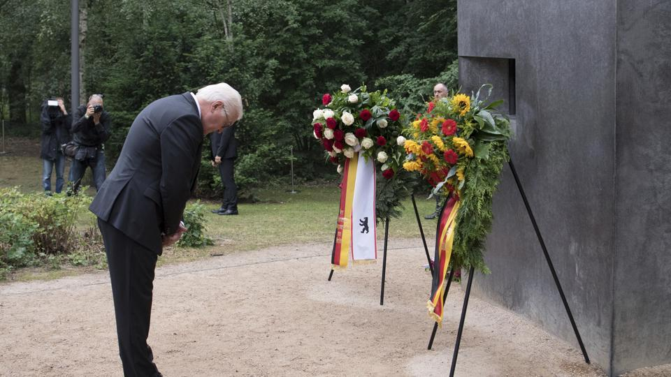 German President Frank-Walter Steinmeier bows in front of the memorial for the Nazi-persecuted gays in Berlin, Germany.