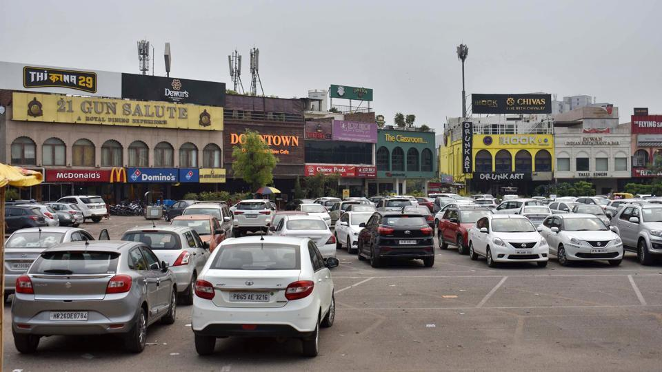 A view of cars parked in Gurugram.