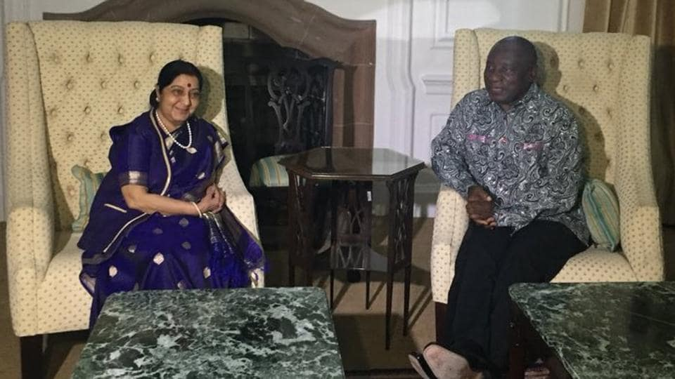 Sushma Swaraj met South African President Cyril Ramaphosa, who conveyed his commitment to take bilateral relations with India to the next level.