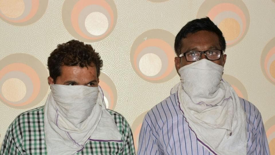 Two Maoist supporters in police custody in US Nagar district on Monday.
