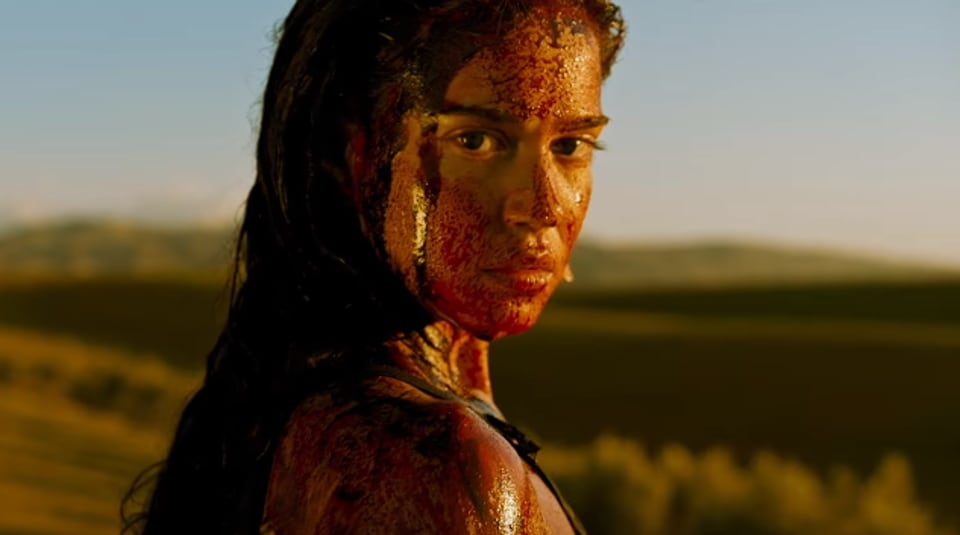 Matilda Lutz stars as the blood-soaked heroine, Jen.