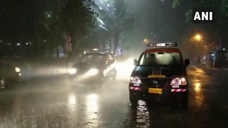 Water-logging on the streets of Mumbai's Hindmata area after heavy rains lash city on Monday evening.