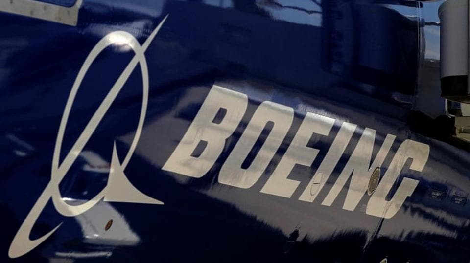 The Boeing logo is seen on a Boeing 787 Dreamliner airplane.