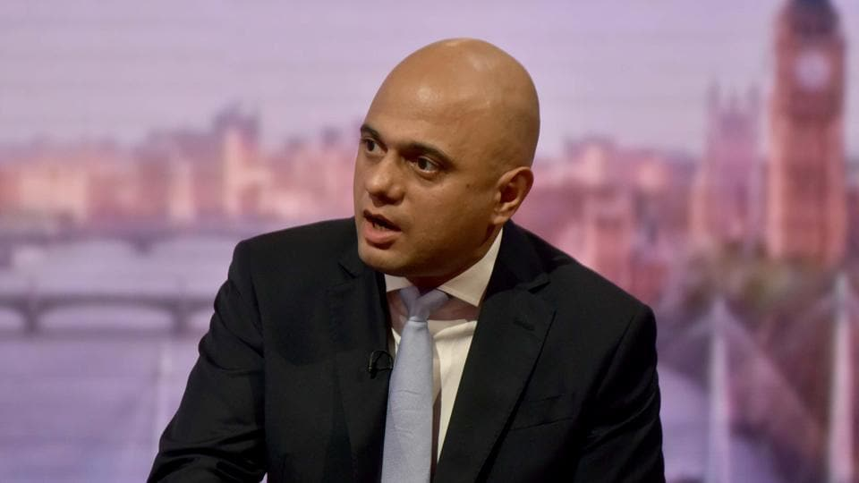 Britain's Home Secretary Sajid Javid attends the BBC's Andrew Marr show in London, June 3, 2018.