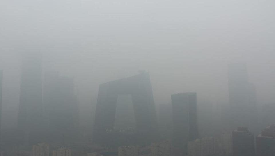 Buildings are seen amid smog on a polluted day in Beijing, China on April 2.