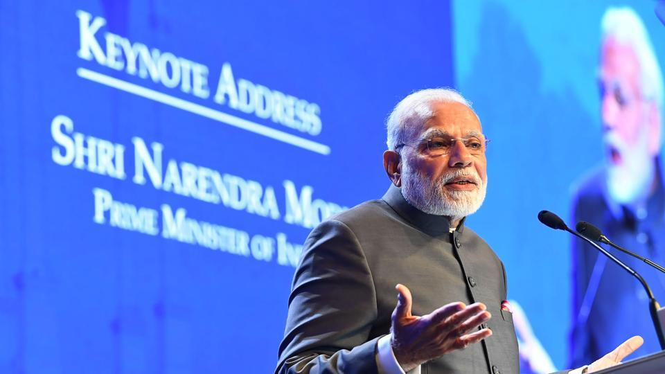 Prime Minister Narendra Modi delivers the keynote address at the IISS Shangri-La Dialogue, Singapore, June 1, 2018