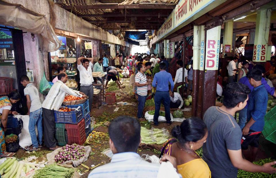 A vegetable market in Navi Mumbai as farmers' protest enters fourth day on Monday.