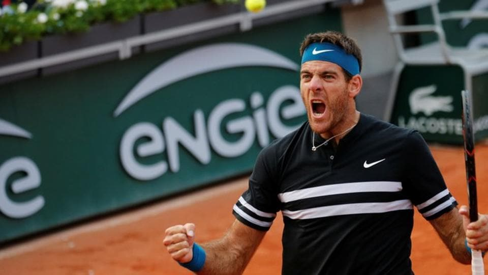Argentina's Juan Martin del Potro celebrates after winning his fourth round French Open match against John Isner of the U.S.