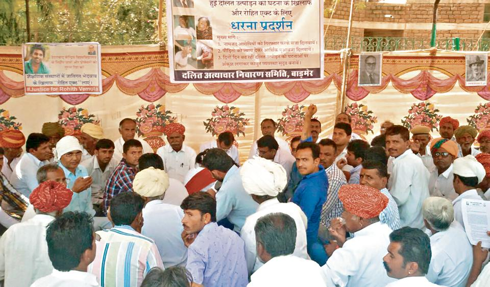 Dalits protest outside the Barmer collectorate in Rajasthan against the Supreme Court ruling that allegedly diluted the SC/ST(Prevention of Atrocities) Act.