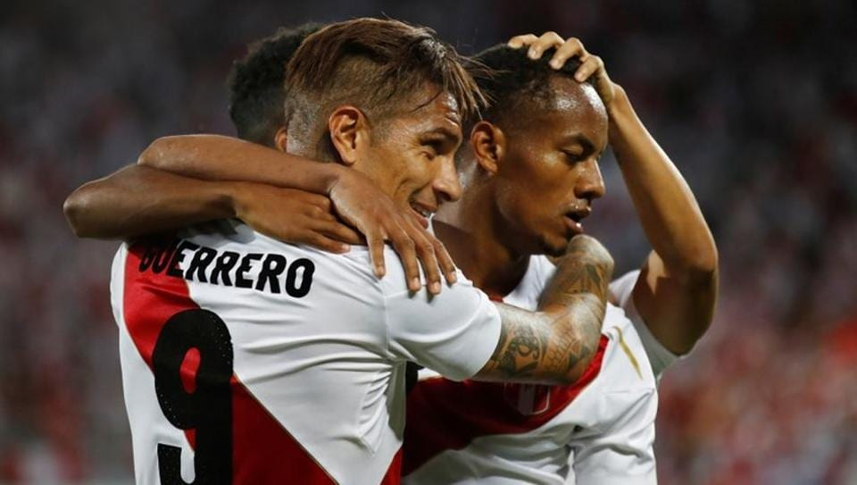 Peru's Paolo Guerrero celebrates scoring their third goal with teammates against Saudi Arabia in a warm-up match on Sunday.