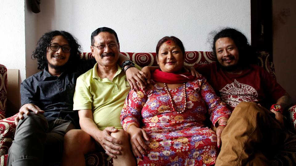 Roshani Shrestha (3rd L) along with her husband Indra Lal Shrestha and their children at their rented apartment in Kathmandu, Nepal. Roshini said that they use alternatives to plastic as it helps the environment but also showed concern that saying 'no to plastic' is an uphill task as most products come either in plastic wrap or some other plastic packaging. (Navesh Chitrakar / REUTERS)