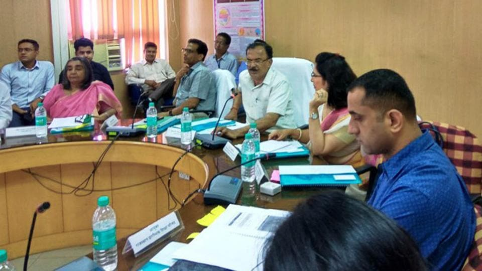 State education minister Vasudev Devnani addresses the VIII Chief Minister Education sub-committee meeting on Monday in Jaiupr.