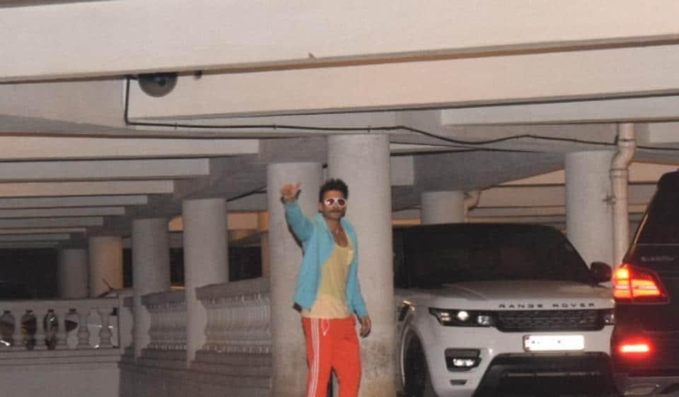 Ranveer Singh during Ritesh Sidhwani's party in Mumbai.