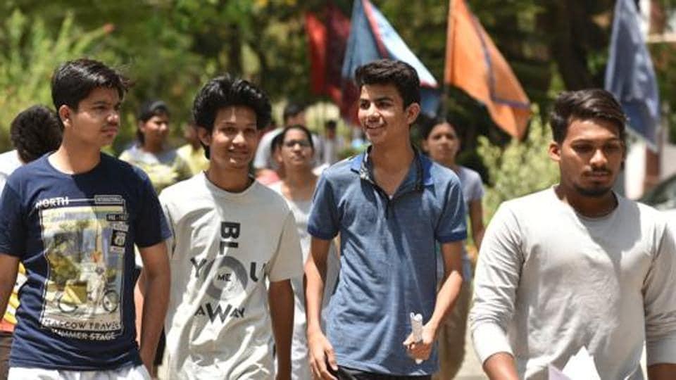 Students coming out of Kendriya Vidyalaya no2 after appearing in NEET 2018 in Bhopal, India, on Sunday, May 6, 2018.