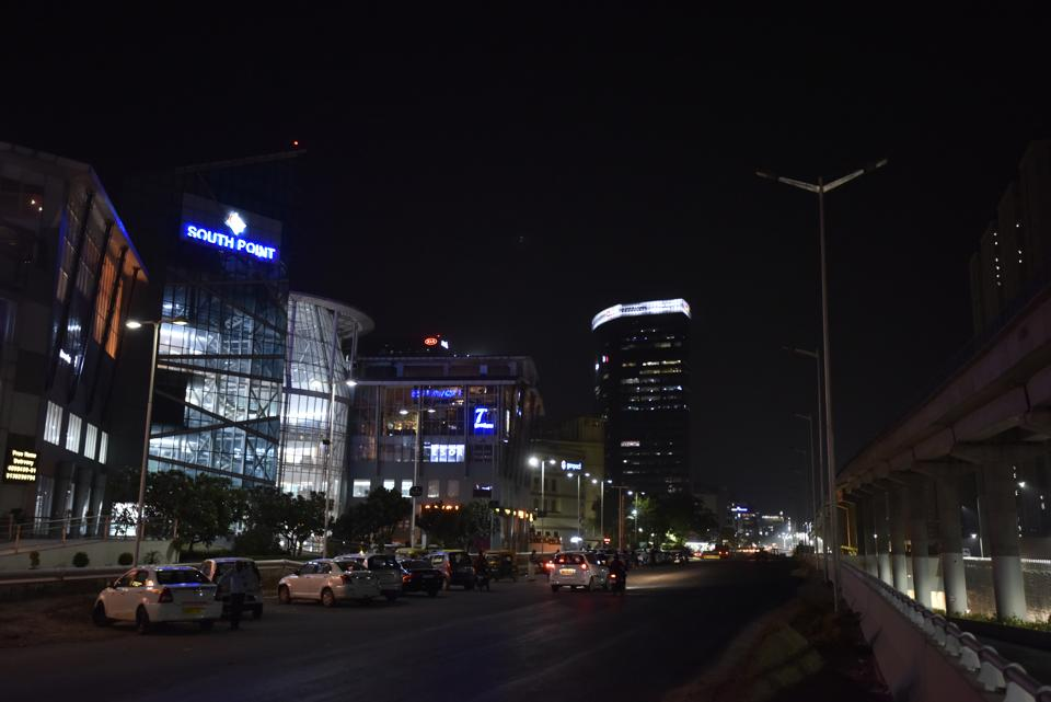Reality check of night patrolling by police at sensitive spots, where many cases of theft from cars have been reported near South Point Mall at Golf Course road, in Gurugram, June 3, 2018.