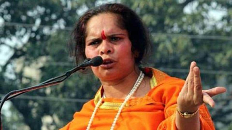 The VHP leader Sadhvi Prachi pictured here at a rally.