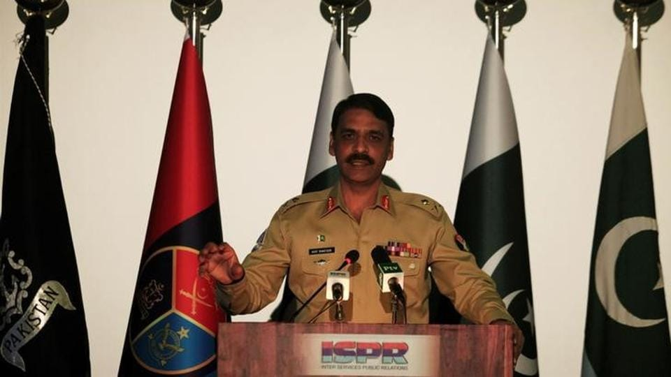 Maj. Gen. Asif Ghafoor, director general of Inter Services Public Relations (ISPR), speaks during a news conference in Rawalpindi, Pakistan, April 17, 2017.