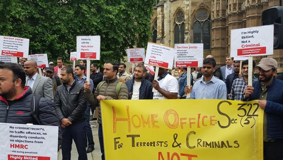 Indian and other non-EU professionals demonstrating outside the British parliament in London on Tuesday.