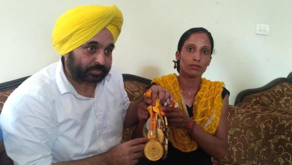 Veerpal Kaur meets Sangrur MP Bhagwant Mannat on Tuesday.