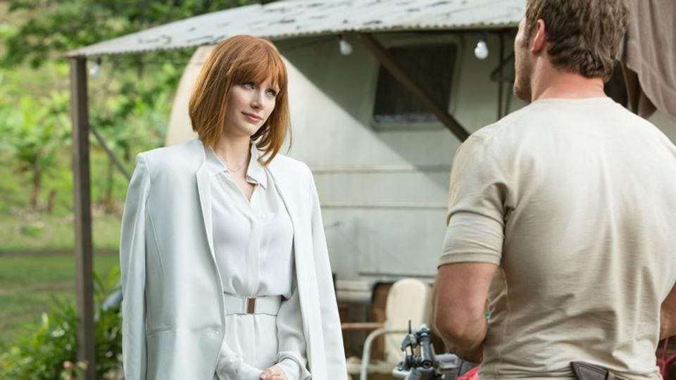 Bryce Dallas Howard and Chris Pratt in Jurassic World.